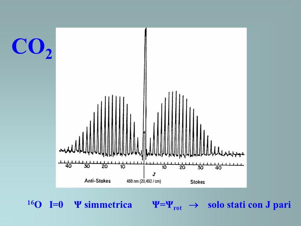 CO2 16O I=0 Ψ simmetrica Ψ=Ψrot  solo stati con J pari