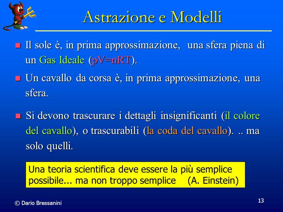 Astrazione e Modelli Il sole è, in prima approssimazione, una sfera piena di un Gas Ideale (pV=nRT).