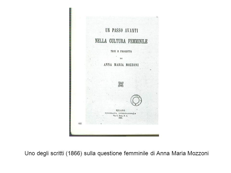 Uno degli scritti (1866) sulla questione femminile di Anna Maria Mozzoni