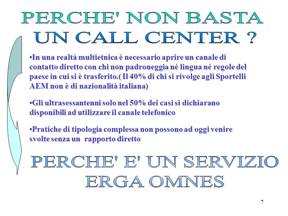 PERCHE NON BASTA UN CALL CENTER PERCHE E UN SERVIZIO ERGA OMNES