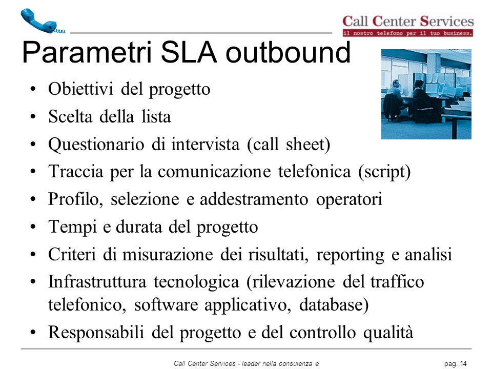Parametri SLA outbound