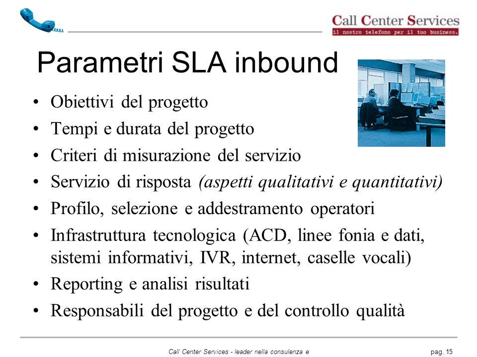 Parametri SLA inbound Obiettivi del progetto
