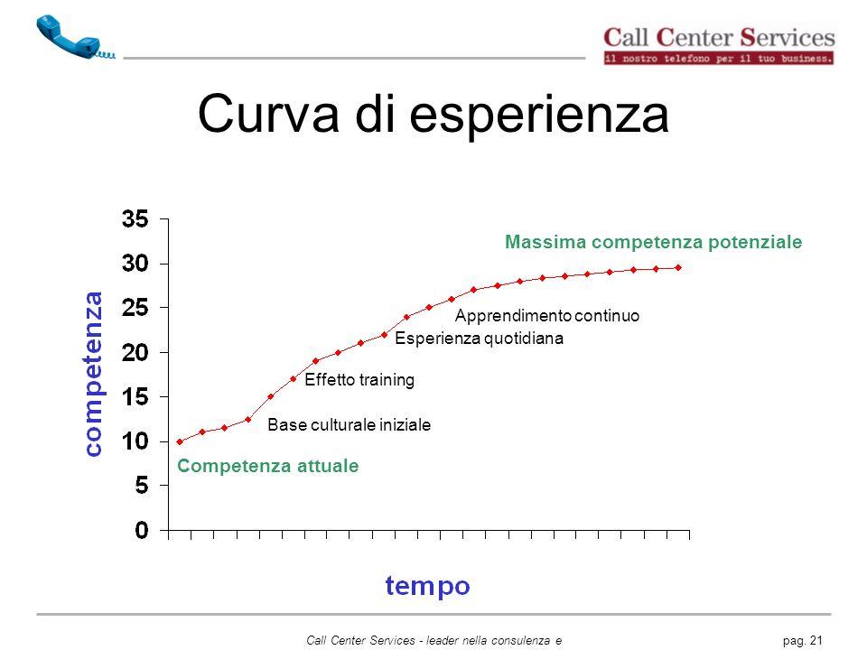 Curva di esperienza Massima competenza potenziale Competenza attuale