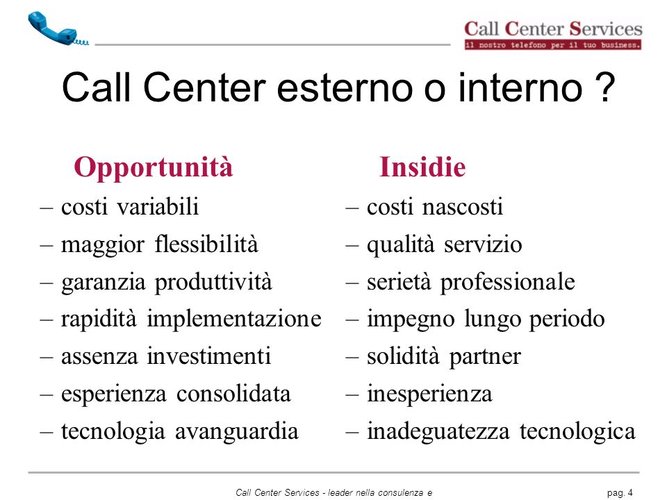 Call Center esterno o interno