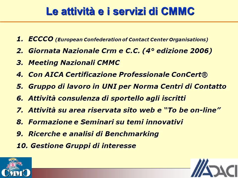 Le attività e i servizi di CMMC