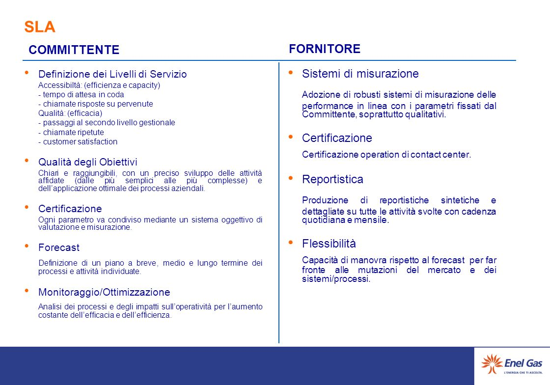 SLA COMMITTENTE. FORNITORE. Definizione dei Livelli di Servizio. Accessibiltà: (efficienza e capacity)