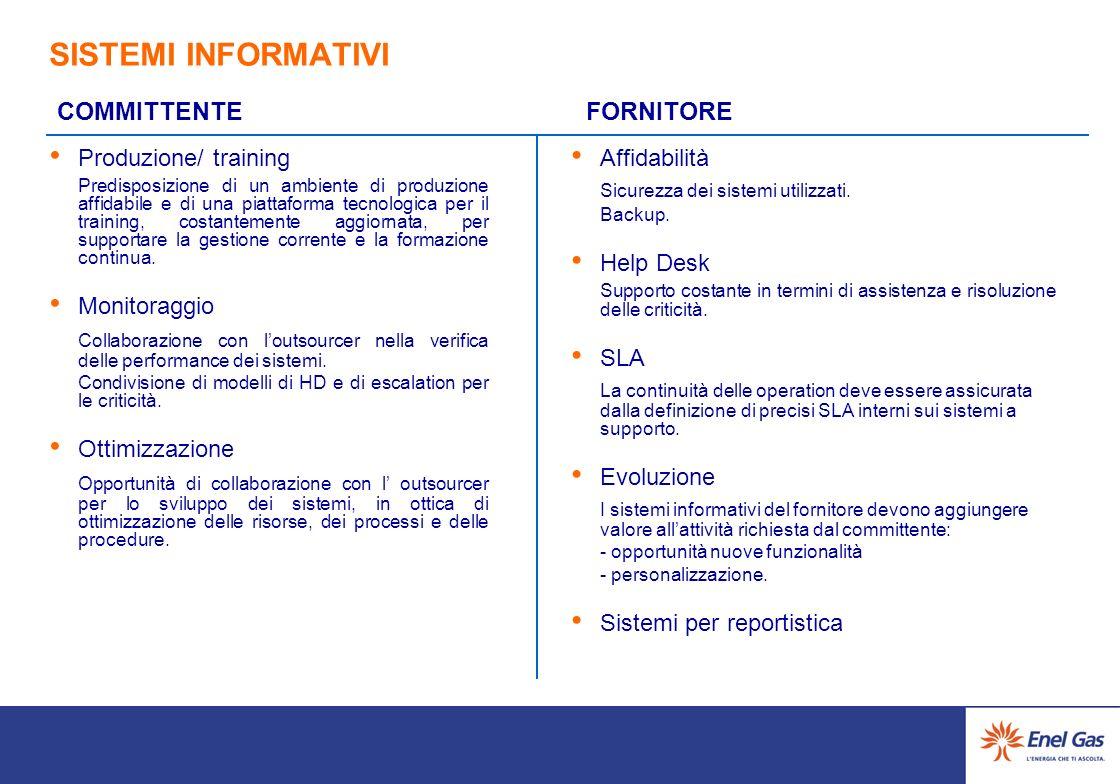 SISTEMI INFORMATIVI COMMITTENTE. FORNITORE. Produzione/ training.