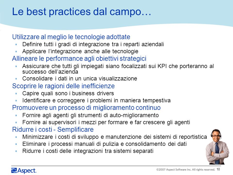 Le best practices dal campo…