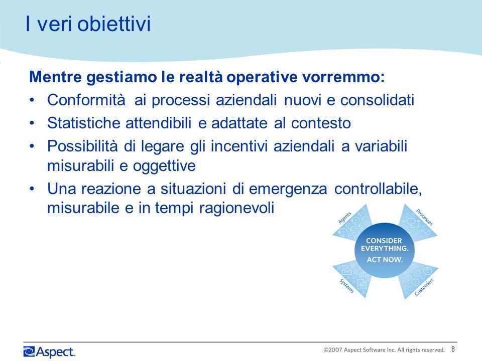 I veri obiettivi Mentre gestiamo le realtà operative vorremmo: