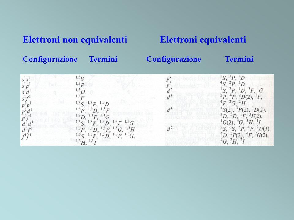 Elettroni non equivalenti Elettroni equivalenti