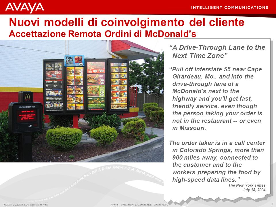 Nuovi modelli di coinvolgimento del cliente Accettazione Remota Ordini di McDonald's