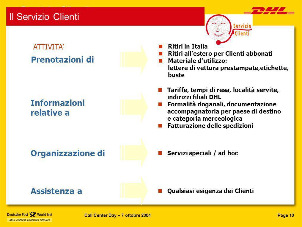 Servizio Clienti Il Servizio Clienti Prenotazioni di Informazioni