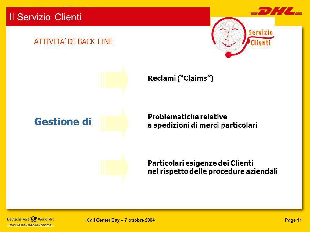 Servizio Clienti Gestione di Il Servizio Clienti