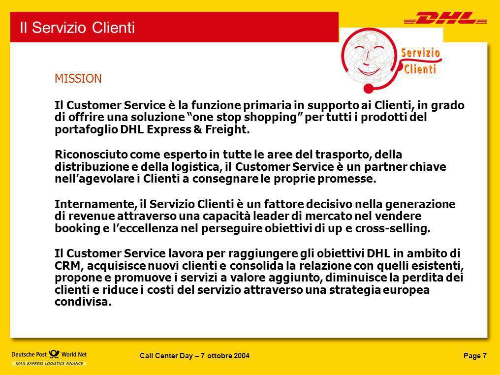 Servizio Clienti Il Servizio Clienti MISSION