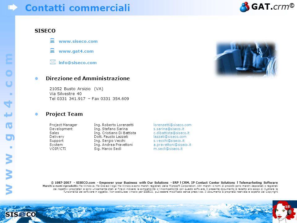 Contatti commerciali  info@siseco.com SISECO