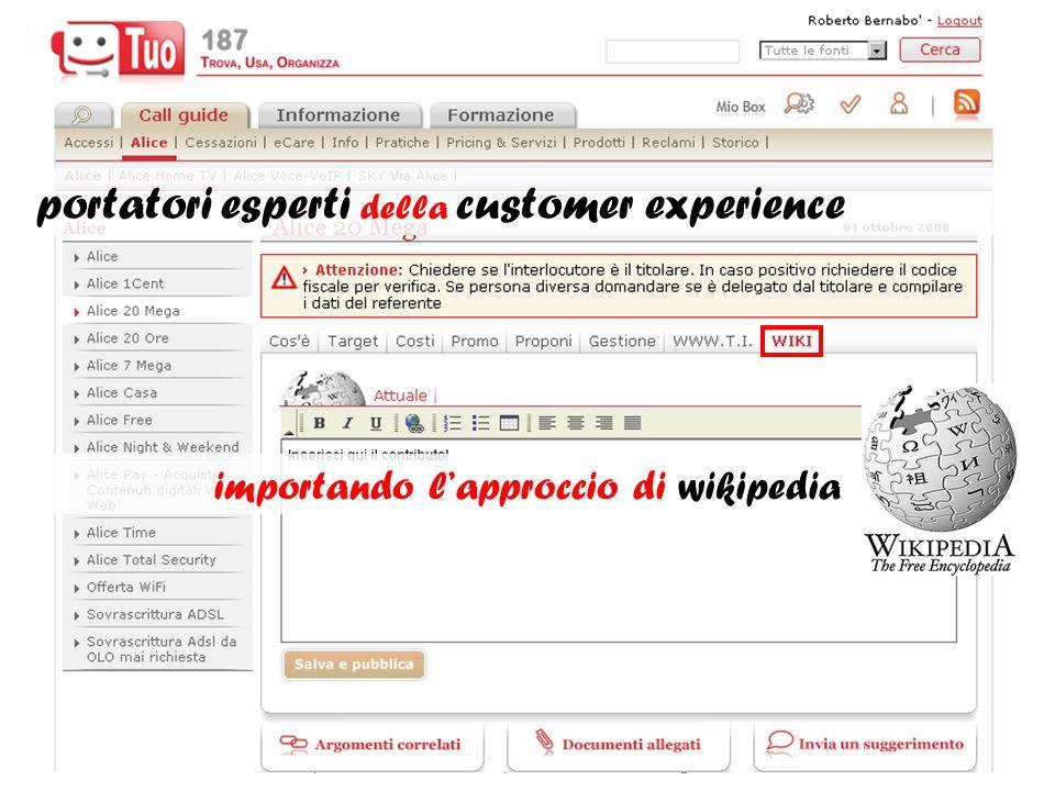 portatori esperti della customer experience