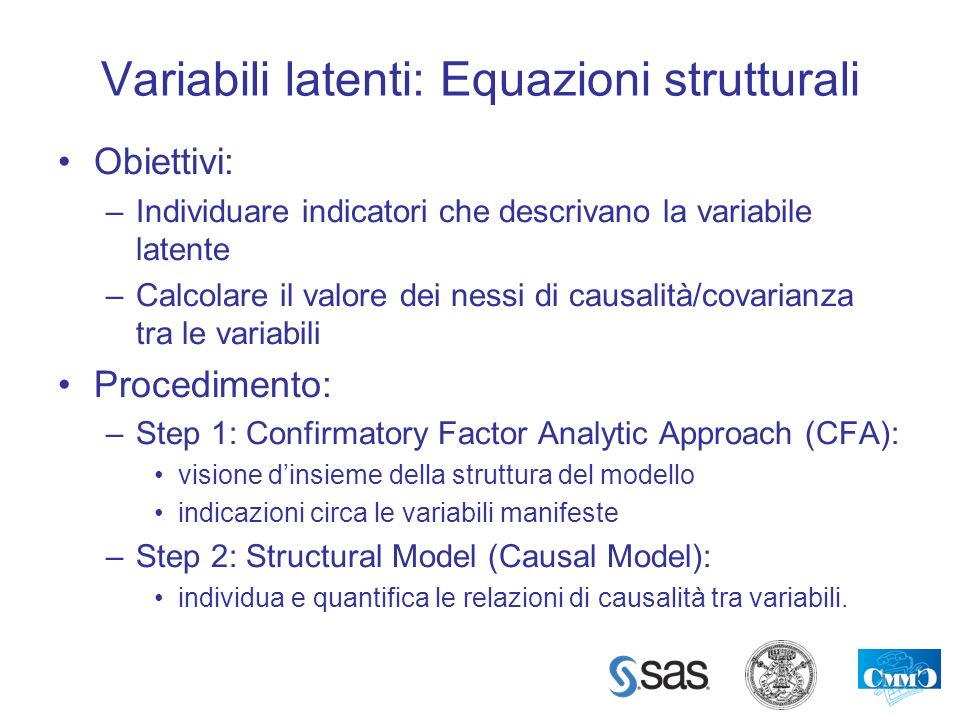 Variabili latenti: Equazioni strutturali