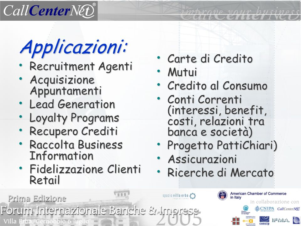 Applicazioni: Carte di Credito Mutui Recruitment Agenti