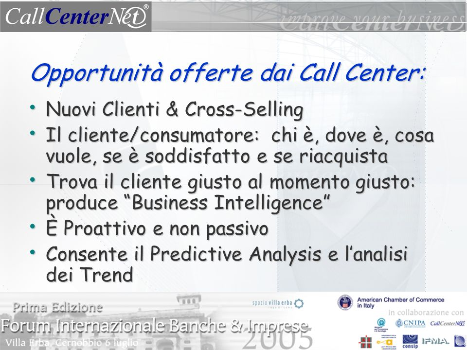 Opportunità offerte dai Call Center: