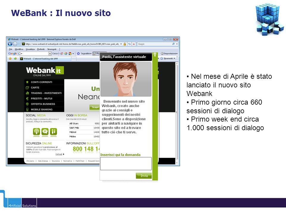 WeBank : Il nuovo sito Nel mese di Aprile è stato lanciato il nuovo sito Webank. Primo giorno circa 660 sessioni di dialogo.
