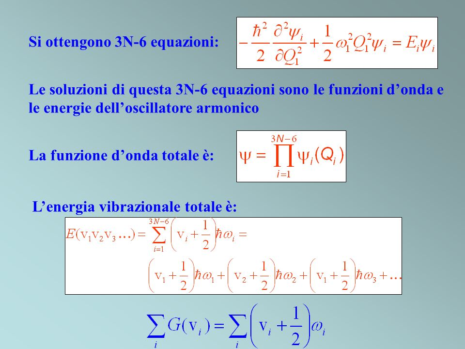 Si ottengono 3N-6 equazioni: