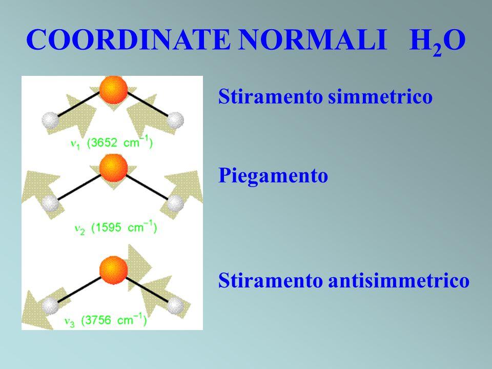 COORDINATE NORMALI H2O Stiramento simmetrico Piegamento