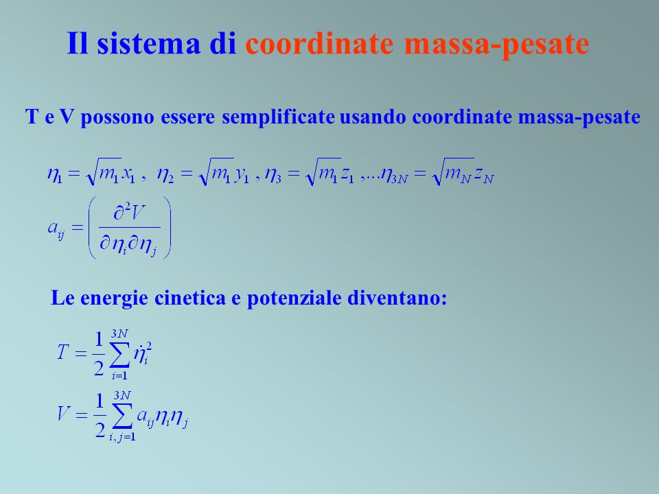 Il sistema di coordinate massa-pesate