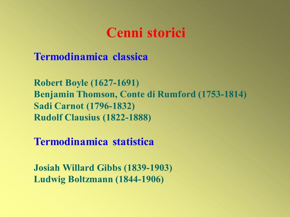 Cenni storici Termodinamica classica Termodinamica statistica