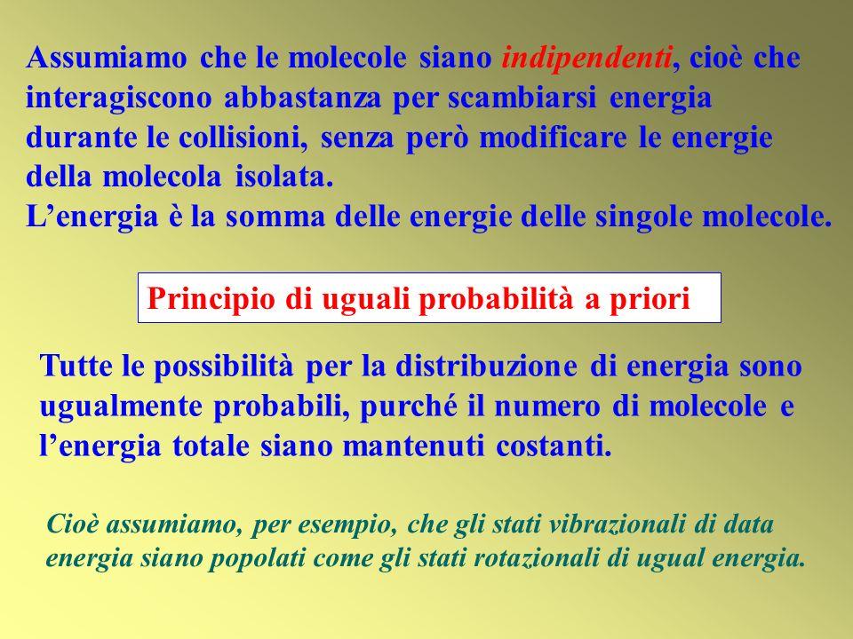 L'energia è la somma delle energie delle singole molecole.