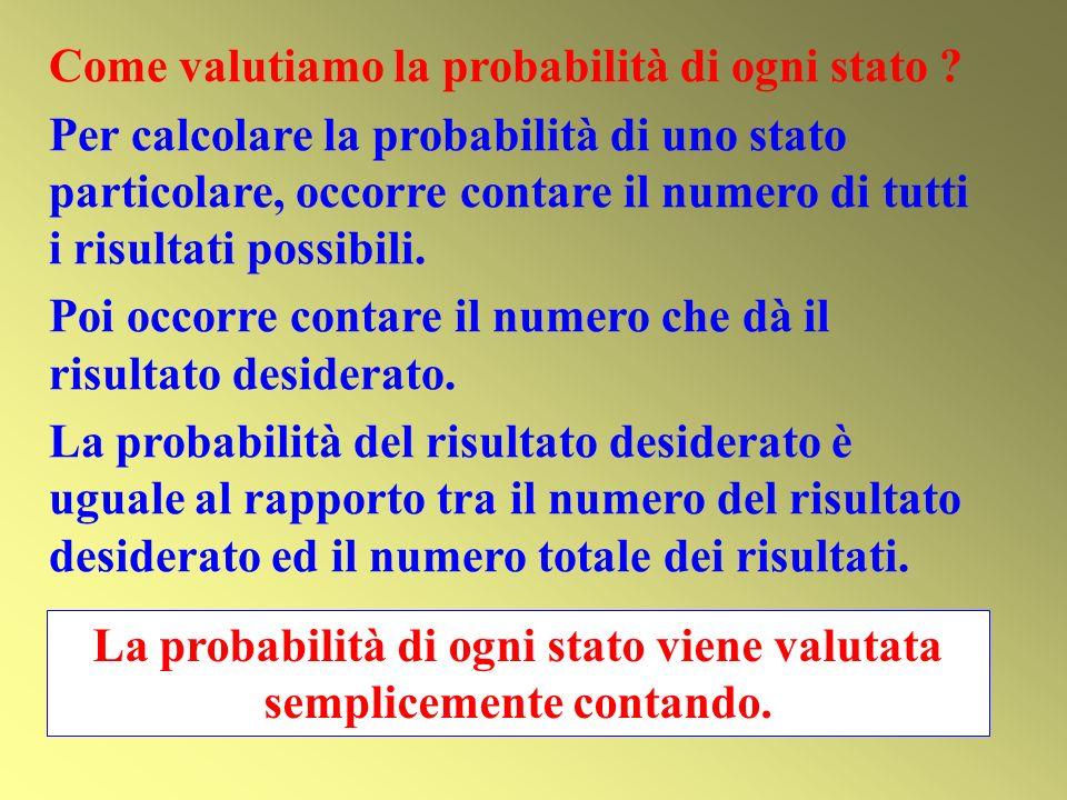 La probabilità di ogni stato viene valutata semplicemente contando.