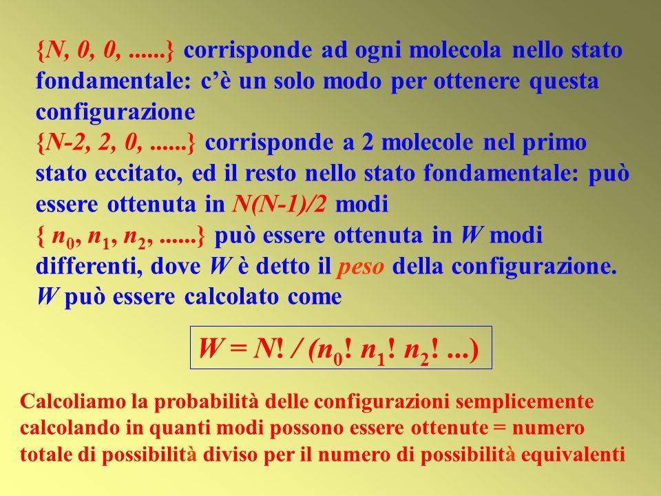 {N, 0, 0, ......} corrisponde ad ogni molecola nello stato fondamentale: c'è un solo modo per ottenere questa configurazione