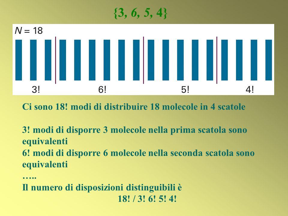 {3, 6, 5, 4} Ci sono 18! modi di distribuire 18 molecole in 4 scatole