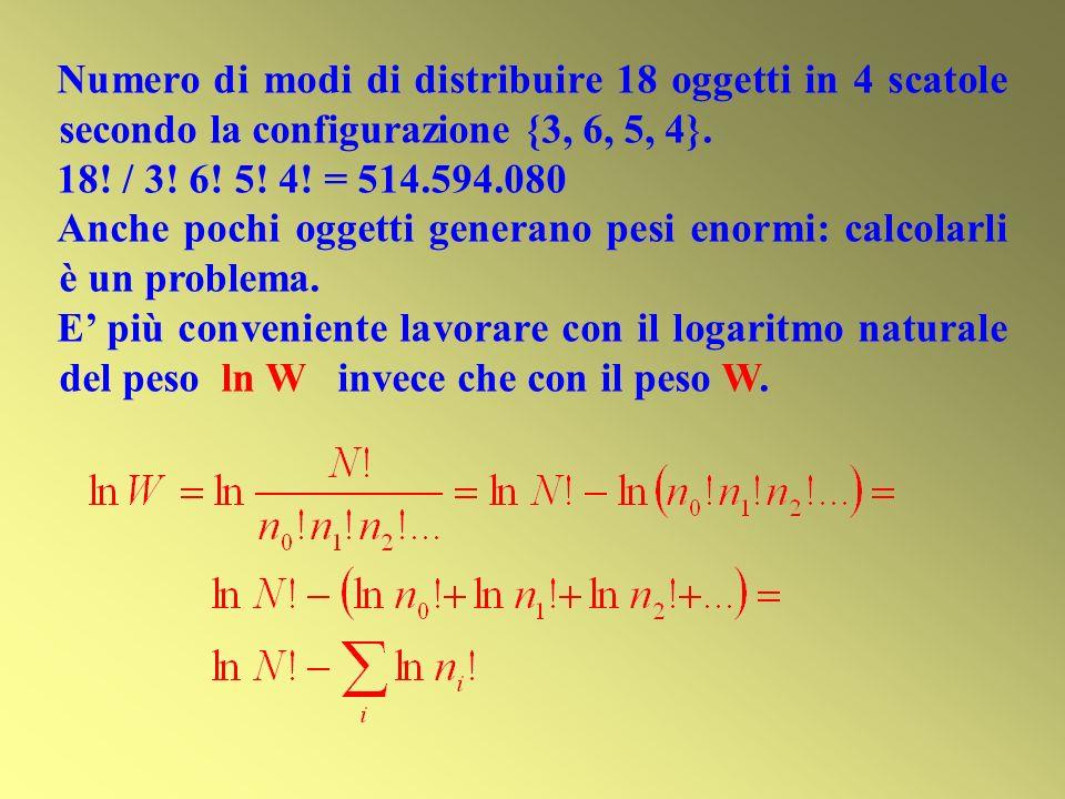 Numero di modi di distribuire 18 oggetti in 4 scatole secondo la configurazione {3, 6, 5, 4}.