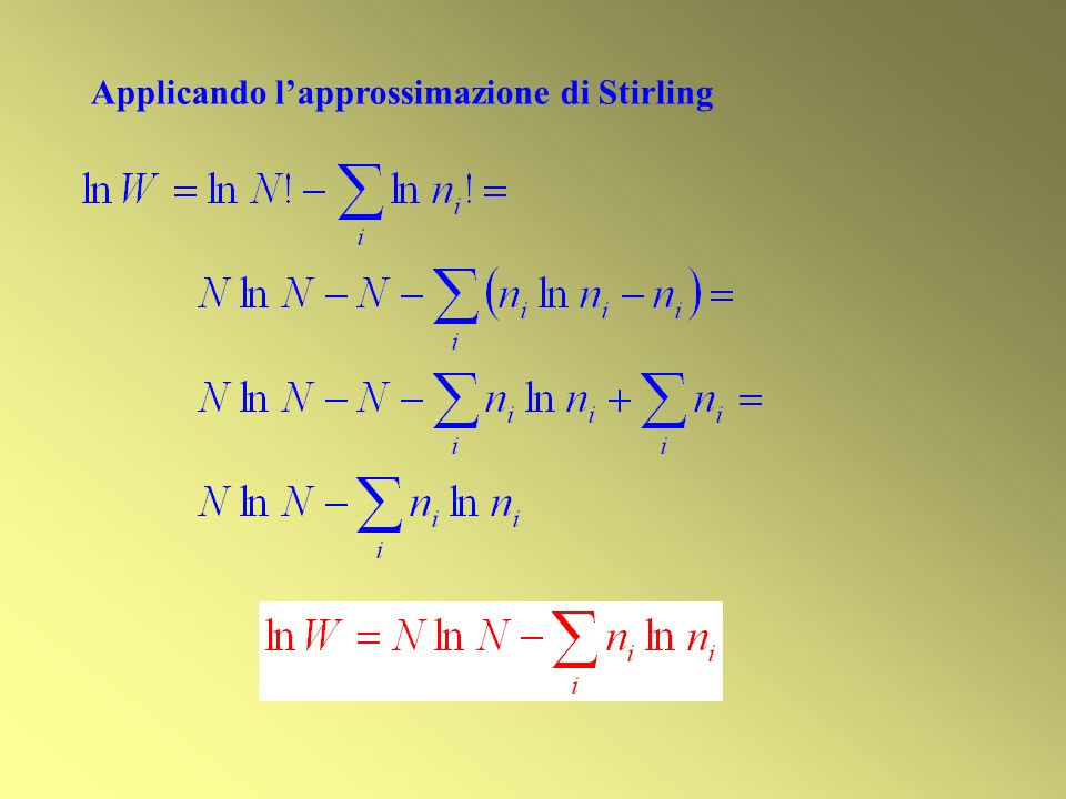 Applicando l'approssimazione di Stirling