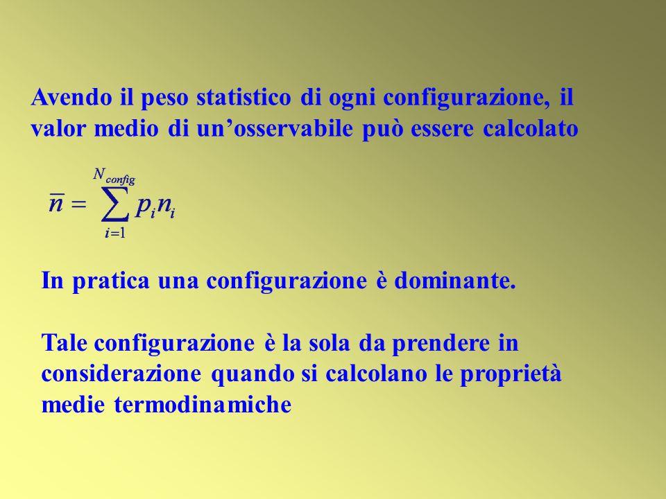 Avendo il peso statistico di ogni configurazione, il valor medio di un'osservabile può essere calcolato