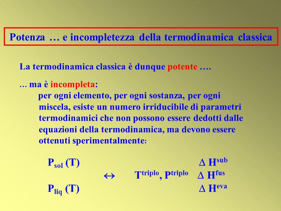 Potenza … e incompletezza della termodinamica classica