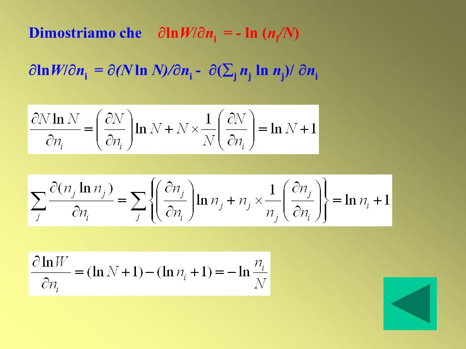 Dimostriamo che lnW/ni = - ln (ni/N)