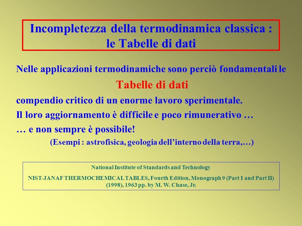 Incompletezza della termodinamica classica : le Tabelle di dati