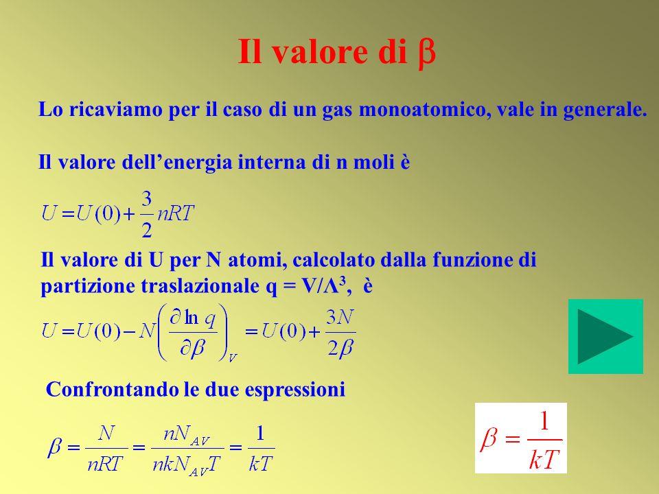 Il valore di  Lo ricaviamo per il caso di un gas monoatomico, vale in generale. Il valore dell'energia interna di n moli è.