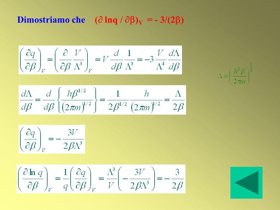 Dimostriamo che ( lnq / )V = - 3/(2)