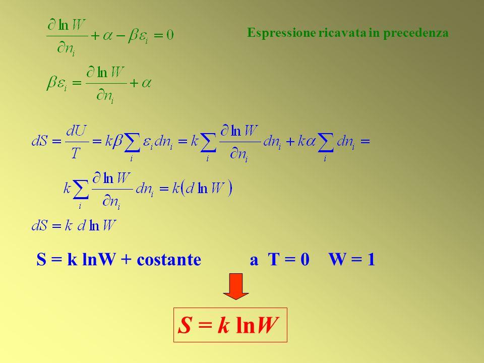 S = k lnW S = k lnW + costante a T = 0 W = 1