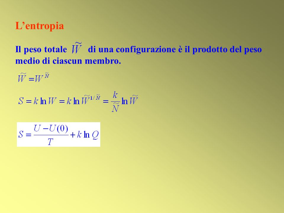 L'entropia Il peso totale di una configurazione è il prodotto del peso medio di ciascun membro.