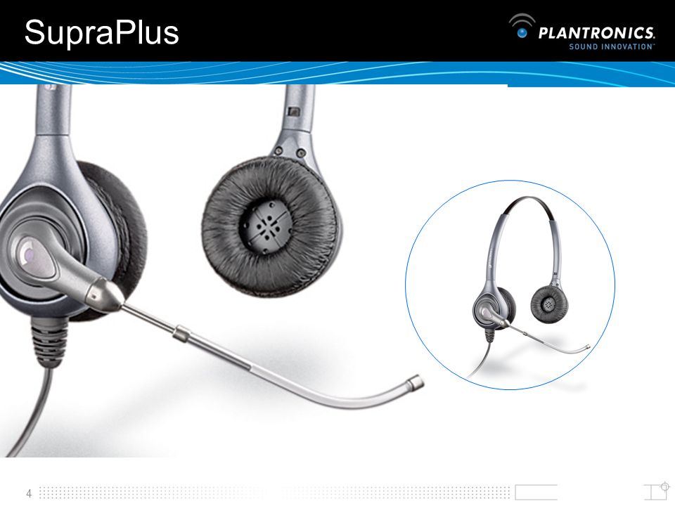 SupraPlus The corded SupraPlusィ headset family brings new standards in all-day comfort and reliability to telephone professionals.