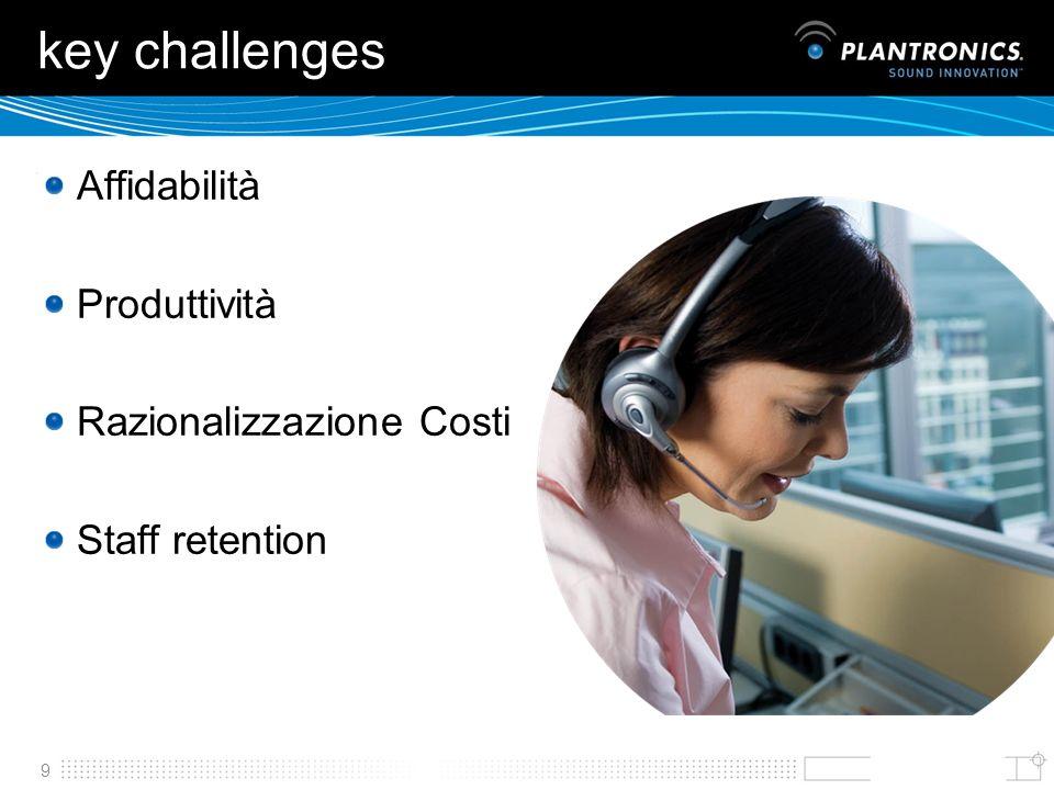 key challenges Affidabilità Produttività Razionalizzazione Costi