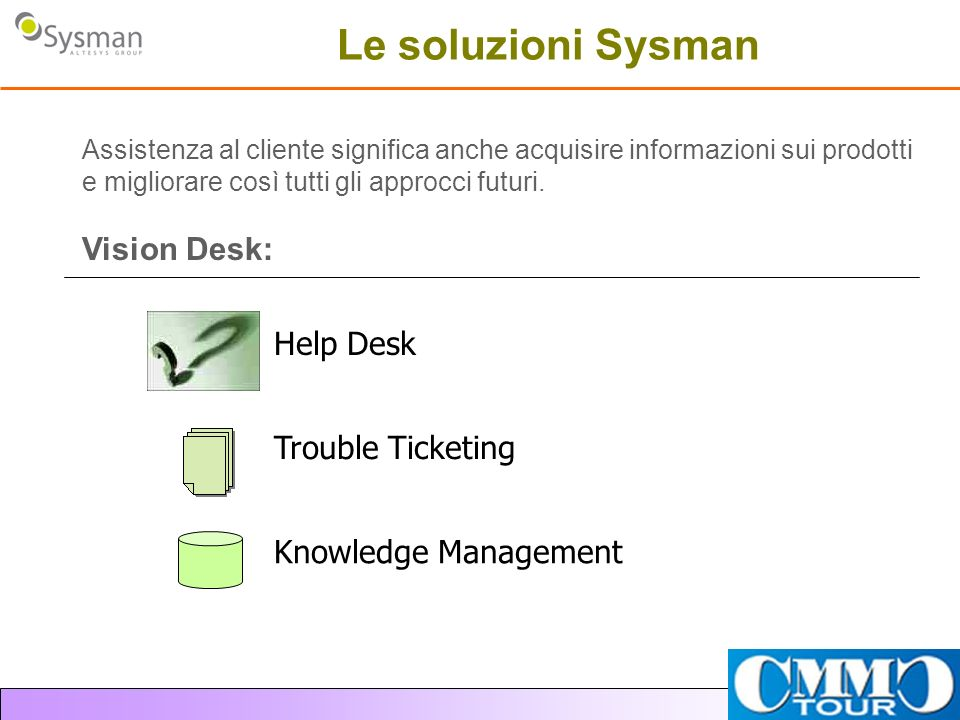 Le soluzioni Sysman Vision Desk: Help Desk Trouble Ticketing