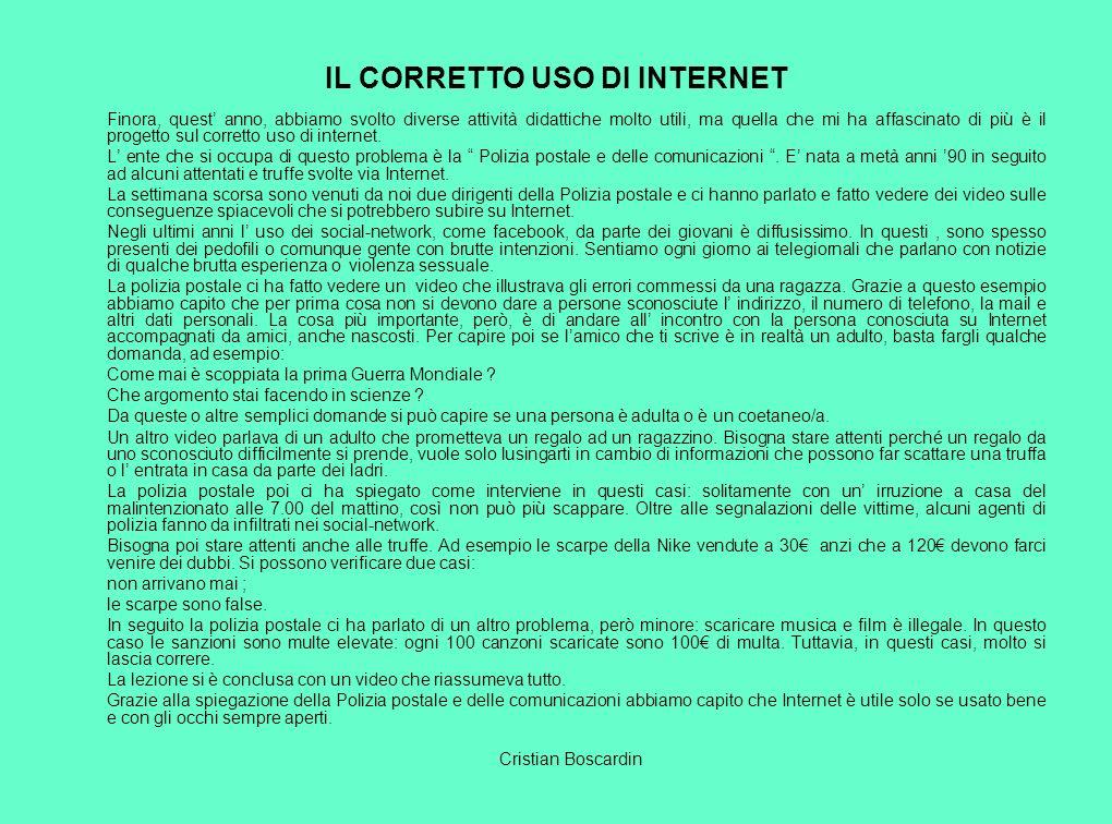 IL CORRETTO USO DI INTERNET