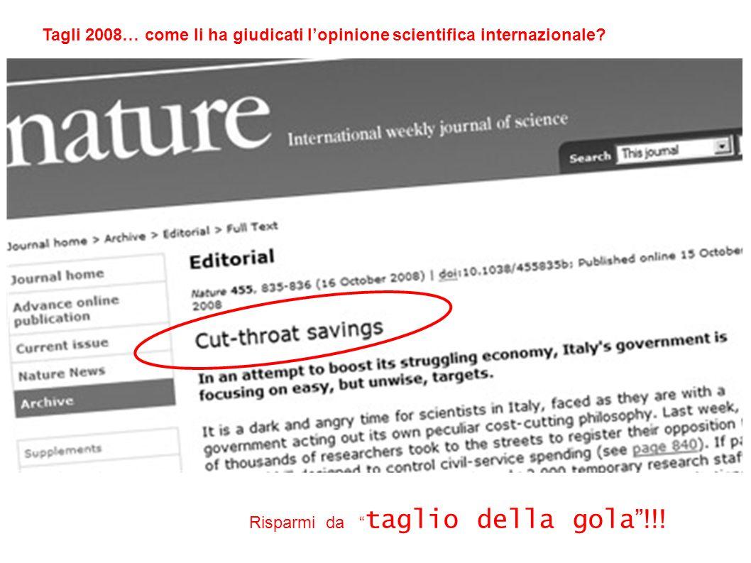 Tagli 2008… come li ha giudicati l'opinione scientifica internazionale