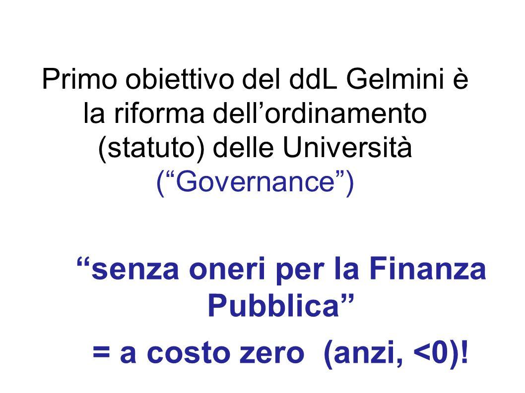 senza oneri per la Finanza Pubblica = a costo zero (anzi, <0)!