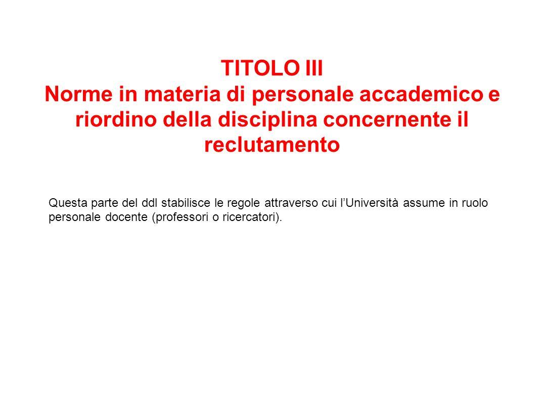 TITOLO III Norme in materia di personale accademico e riordino della disciplina concernente il reclutamento.