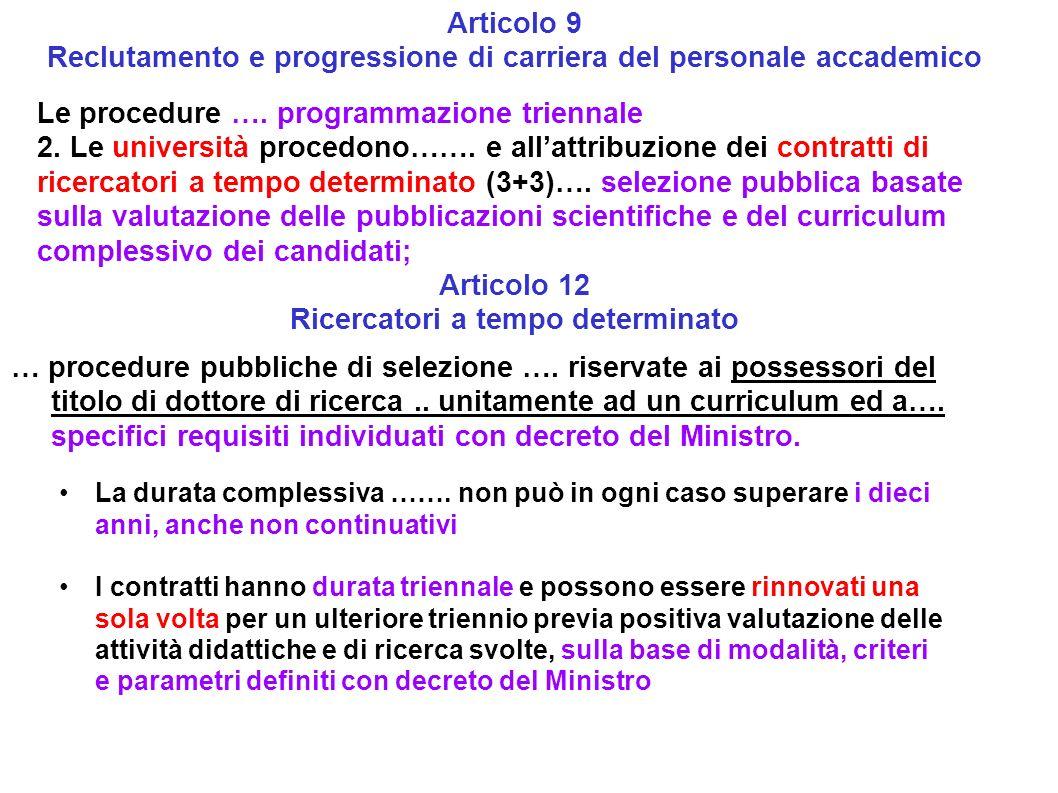 Reclutamento e progressione di carriera del personale accademico